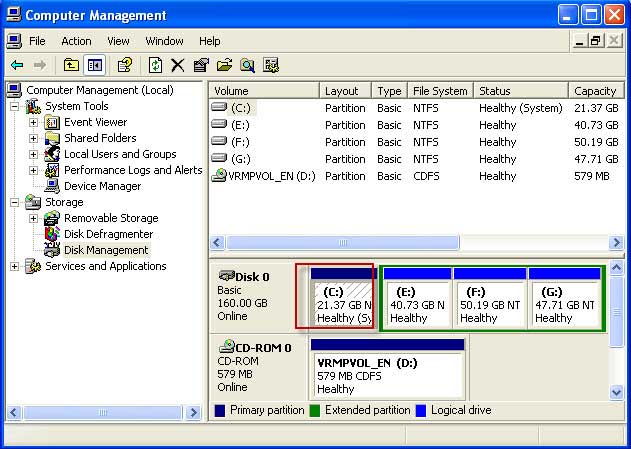 20gb C drive in disk management Acronis pc