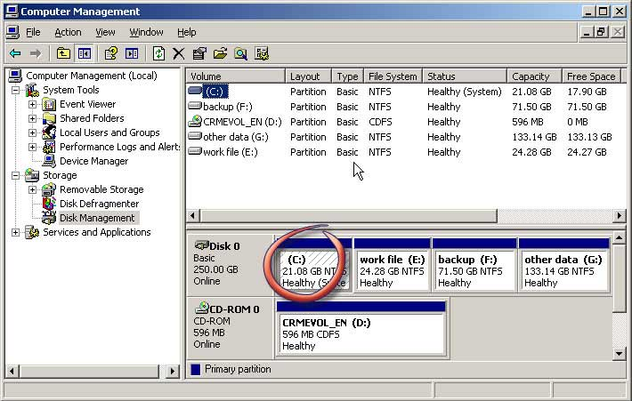 21.08GB c partition in disk management