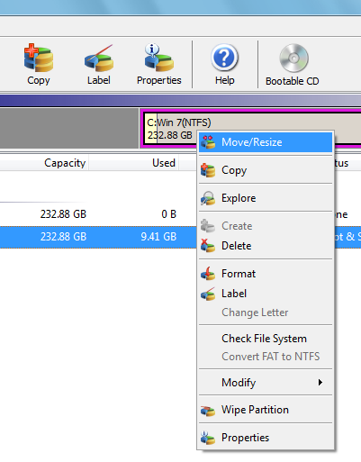 resize move partition option
