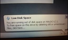 win2k3 low disk space c