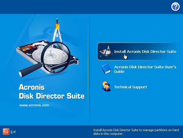 install acronis disk director