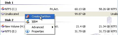 create partition