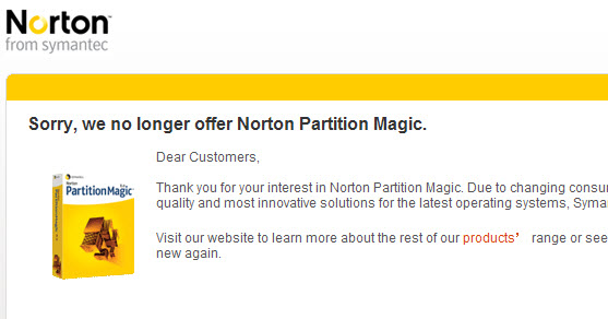 no more symantec partion magic