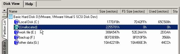 unallocated space next to c drive